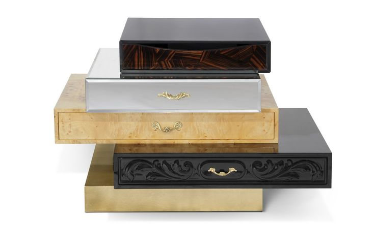 The Frank Nightstand comes directly out of a surreal world, a dream, taking on a variety on a variety of luxurious finishes. This exclusive nightstand features some of Boca do Lobo's finest veneers, and design details.   www.bocadolobo.com #bocadolobo #luxuryfurniture #exclusivedesign #interiodesign #designideas #contemporarybedroom #nightstand