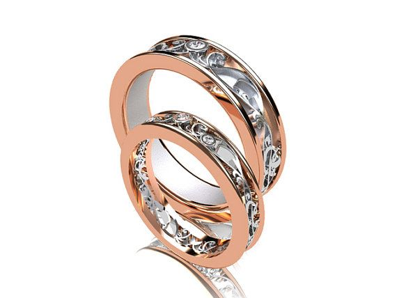 wedding band set rose gold white gold diamond wedding band mens diamond ring filigree diamond wedding men rose gold two tone - Mens Rose Gold Wedding Rings