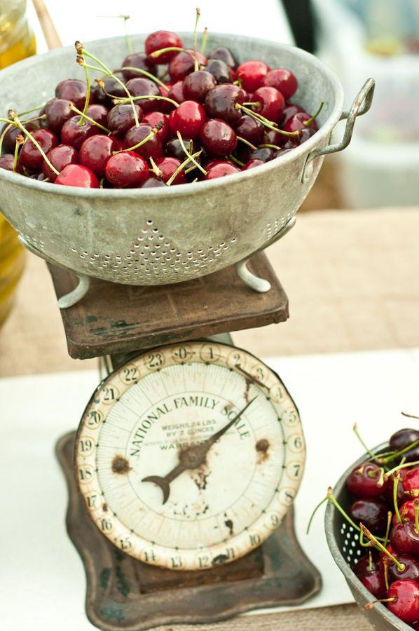 scale, cherries