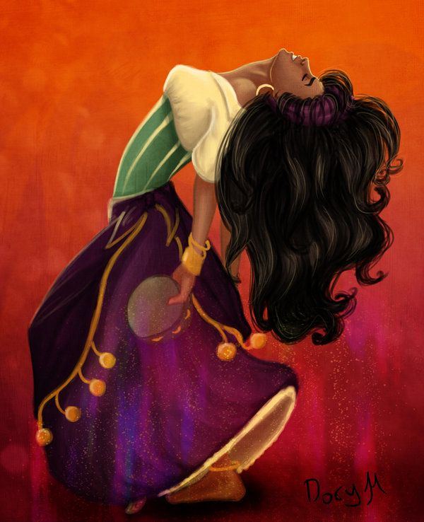 "Danse mon Esmeralda by ribkaDory.deviantart.com on @deviantART - Esmeralda from ""The Hunchback of Notre Dame"". Incidentally, this reminds me of a few prints of flamenco dancers that I have on my bedroom wall - I think it's the sense of fluidity of motion and also emotional passion inherent to the dance."