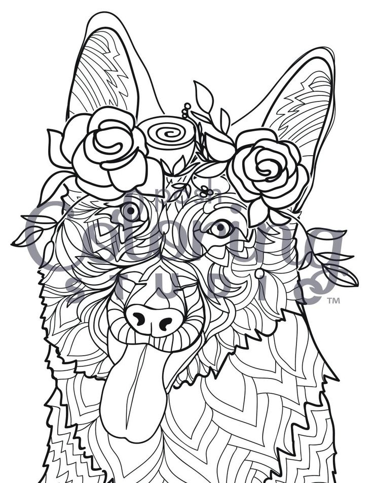 Dog Lovers Looking For A Stress Reliever Will Enjoy This German Shepherd  Adult Coloring Page.