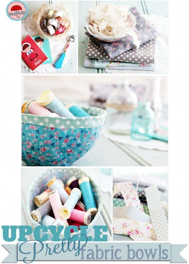 simple and pretty no sew fabric bowls diy