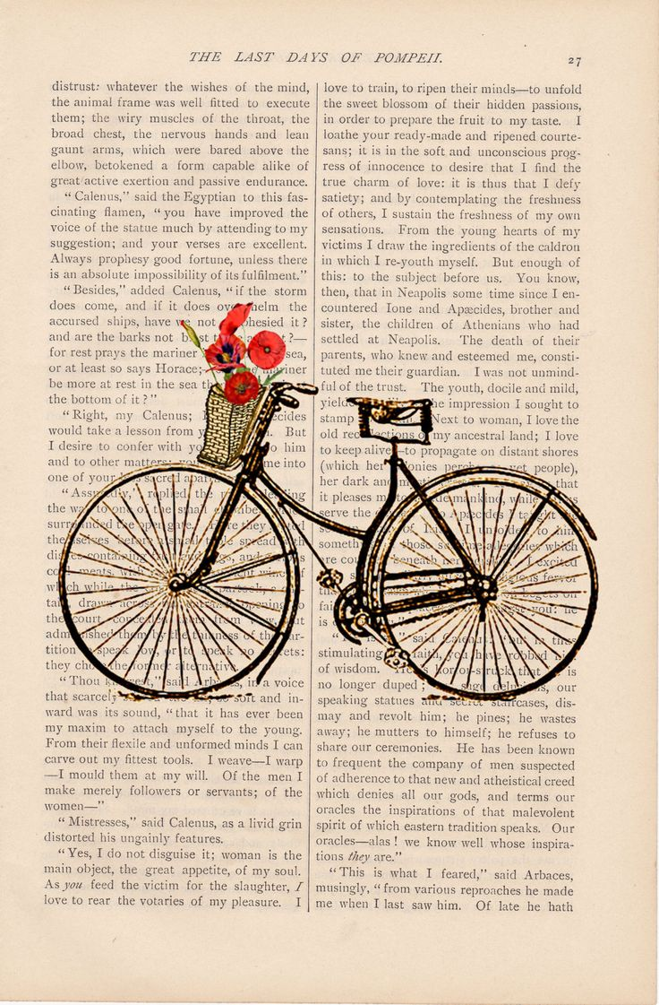 dictionary art vintage Bicycle with Basket of Flowers no. 3 bike print - vintage art book page print - bicycle flower basket book print. $9.00, via Etsy.