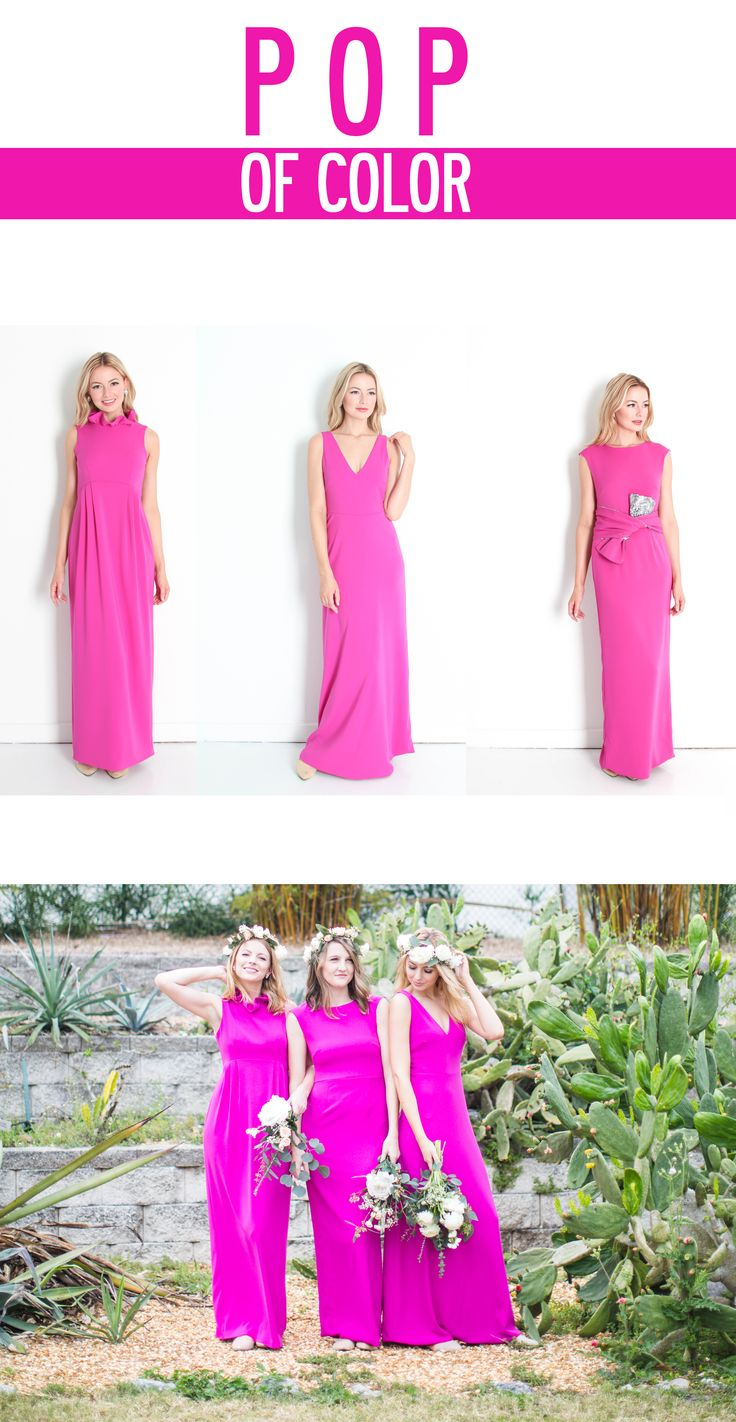 The Camilyn Beth Bridesmaid Collection | Fuchsia bridesmaid gowns | Pop of Color | Loren Hope Jewelry | Bridesmaid Inspiration | Shannon Kirsten Photo