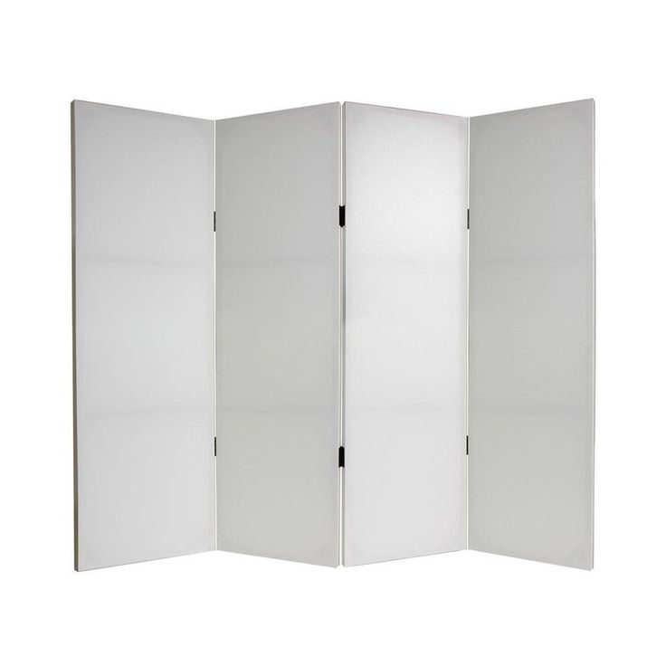 Oriental Furniture Do It Yourself 4-Panel White Fabric Folding Indoor Privacy Screen