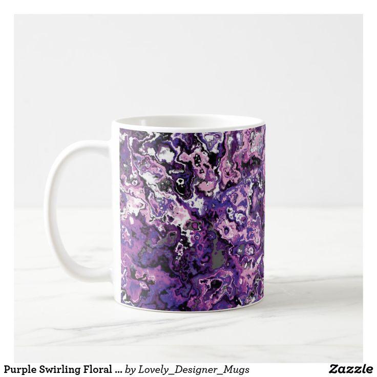 Purple Swirling Floral Classic Designer Mug