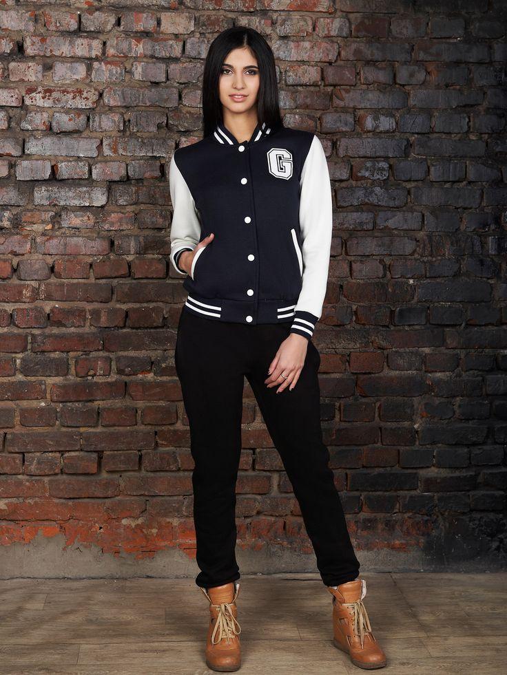 черный женский бомбер с серыми рукавами. кофта Бомбер д/р. Цвет: т.синий-белый