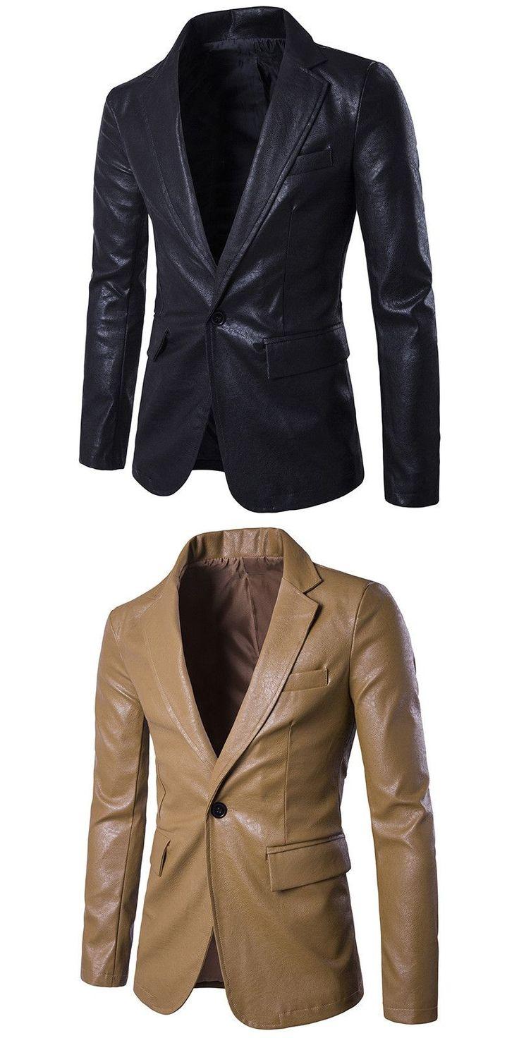 Men's Slim Fit Leather Jacket Blazer Men Soft Pu Leather Coat Male Fashion Black White Red Khaki Blazer Masculino Suit Style