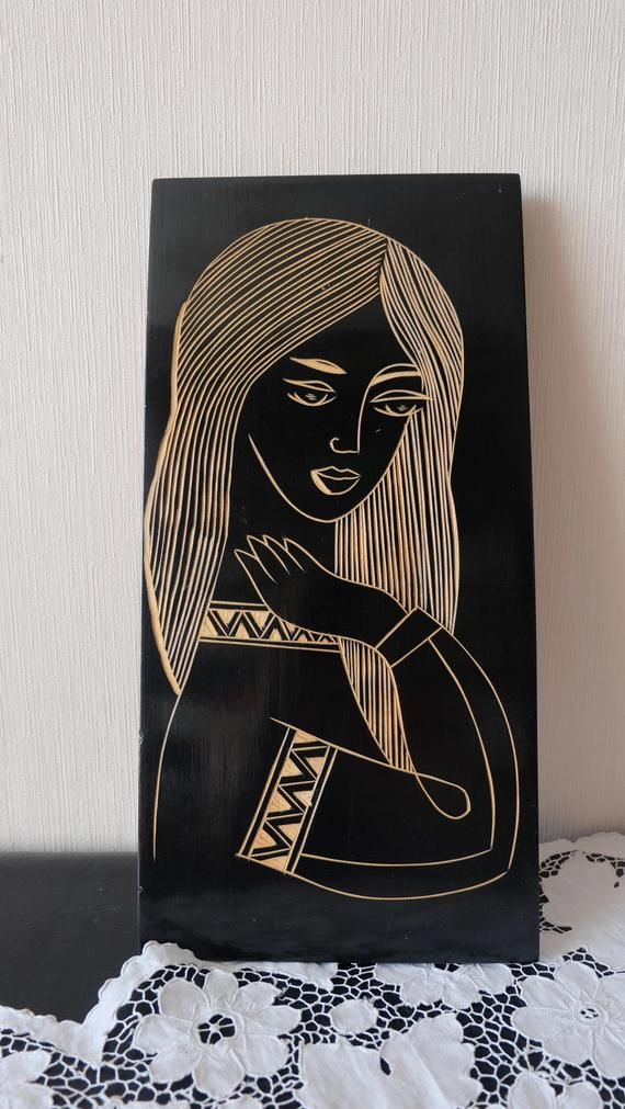 Soviet Wooden Wall Decor Vintage Wood Wall Art Beautiful Woman With Long Hair Hand Carved Wooden Pictu Vintage Wood Wall Art Wood Wall Art Diy Hanging Wall Art