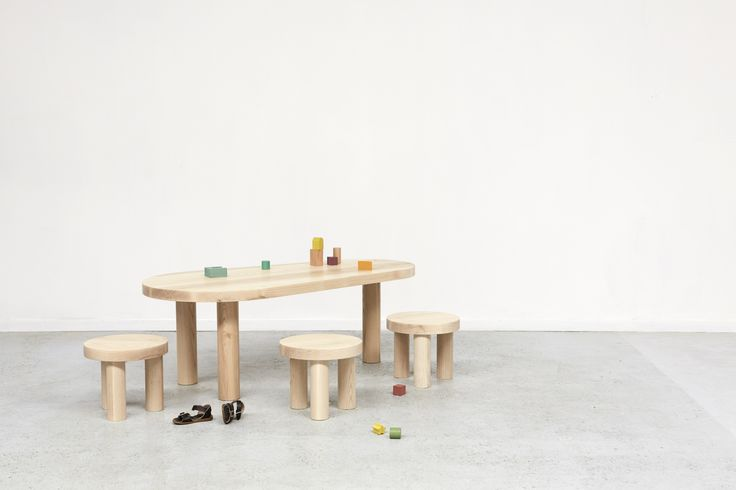 OHS childrens table and stools. James East Design