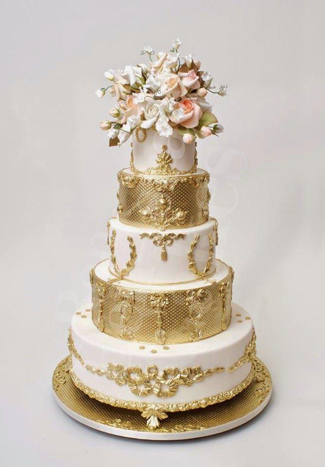 Wedding Trends : Metallic Cakes - Belle The Magazine www.MadamPaloozaEmporium.com www.facebook.com/MadamPalooza