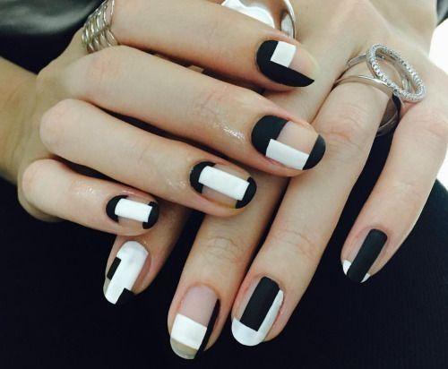 unhas, esmaltes e nail art de inverno preto e branco