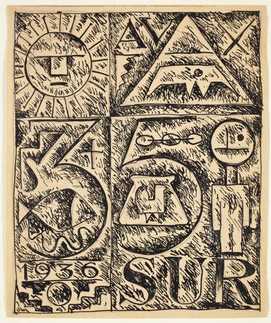 1936, Héctor Ragni (Bs As, Arg 1897-1952): Composition. Ink on paper (8½ x 6¾ in) 21,5 x 17 cm. Cecilia De Torres Ltd.