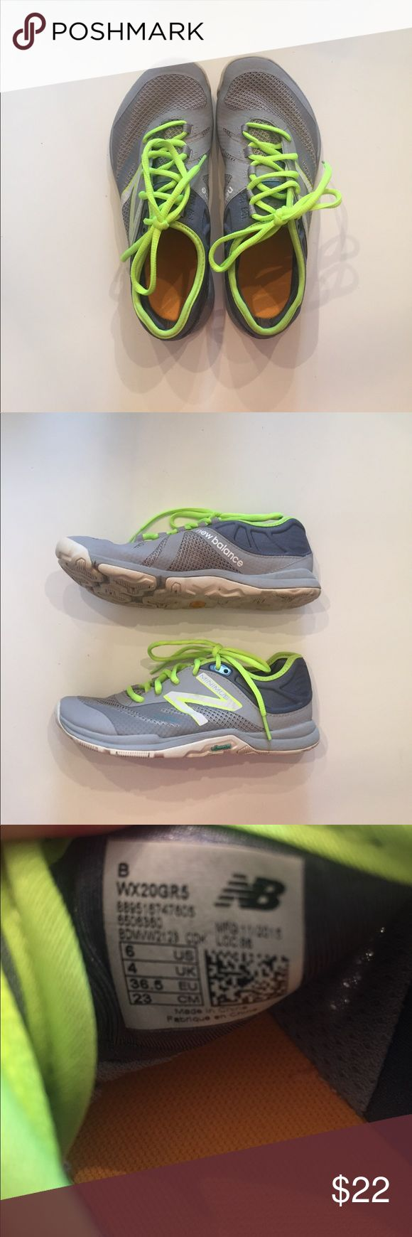 New Balance Minimus Shoes Grey and neon green New Balance Shoes. Only worn for PE. Size 6; may need insoles. Lots of ware left in these. New Balance Shoes Sneakers