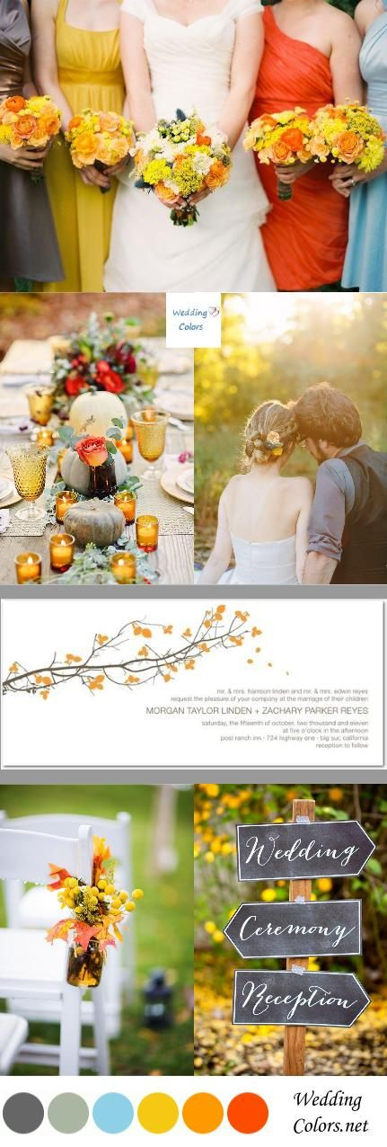 {Autumn's Glow} Orange, Yellow and Grey Fall Wedding Palette