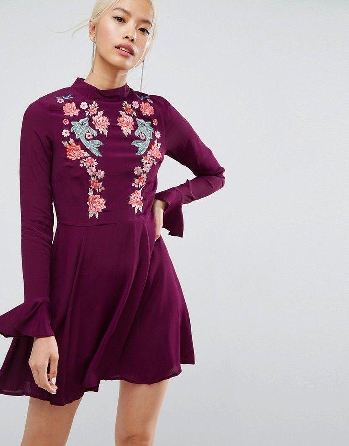 ASOS Embroidered Trumpet Sleeve Mini Dress $87