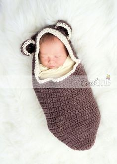 Bear ear hooded cocoon crochet pattern
