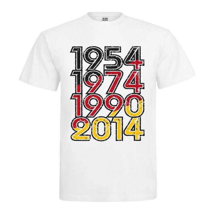 T-Shirt 1954, 1974, 1990, 2014 Fanartikel WM Deutschland Fußball Weltmeister Neu