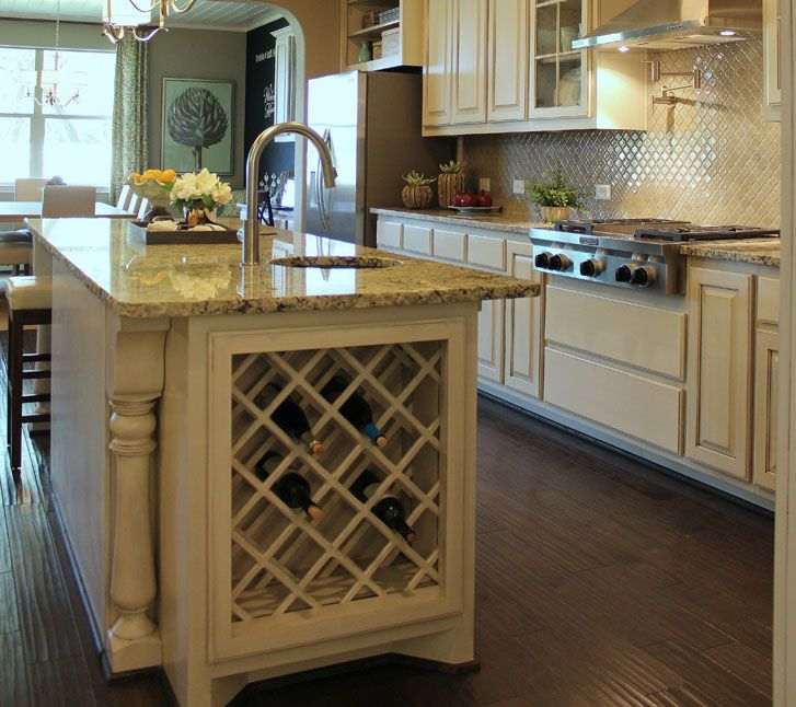 Built In Kitchen Cupboards Designs: Built-In Lattice Wine Rack In Kitchen Island In Bone White