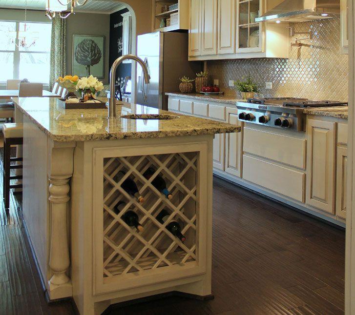 built in lattice wine rack in kitchen island in bone white with black glaze kitchen wine racks. Black Bedroom Furniture Sets. Home Design Ideas
