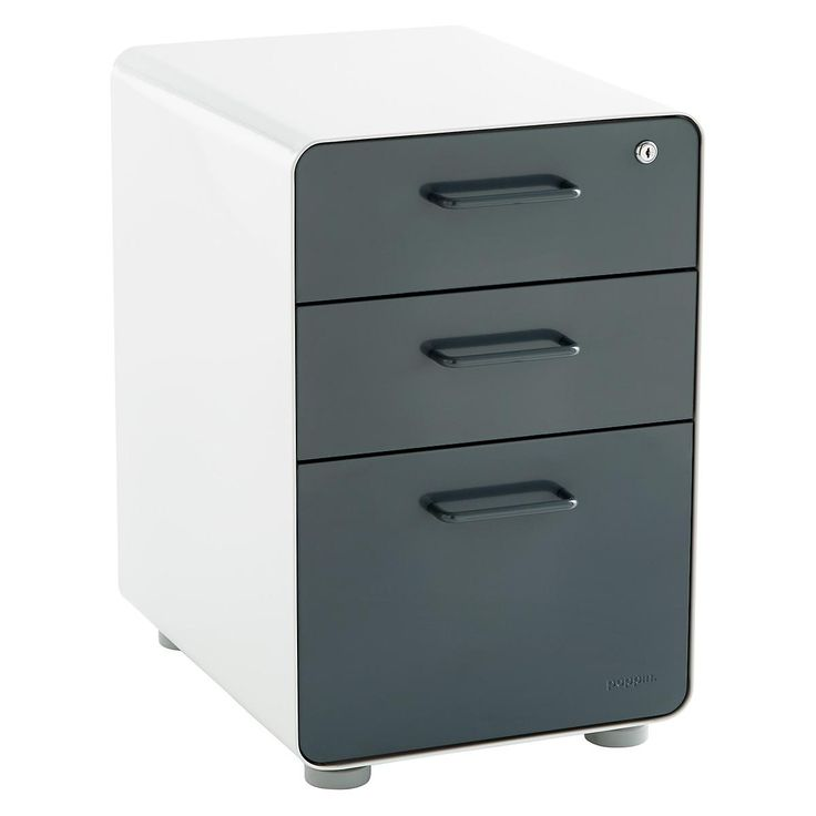 """File it away under perfect! You'll love our Poppin 3-Drawer Stow File Cabinet. Constructed from powder-coated steel, this cabinet stands up to daily use and features a modern look with rounded corners. At 24"""" tall, it easily fits beneath most standard desks. The two utility drawers feature adjustable drawer dividers to keep supplies in order. The bottom drawer accommodates both letter- and legal-size hanging file folders. A single lock secures all drawers. Casters (sold separately, listed…"""
