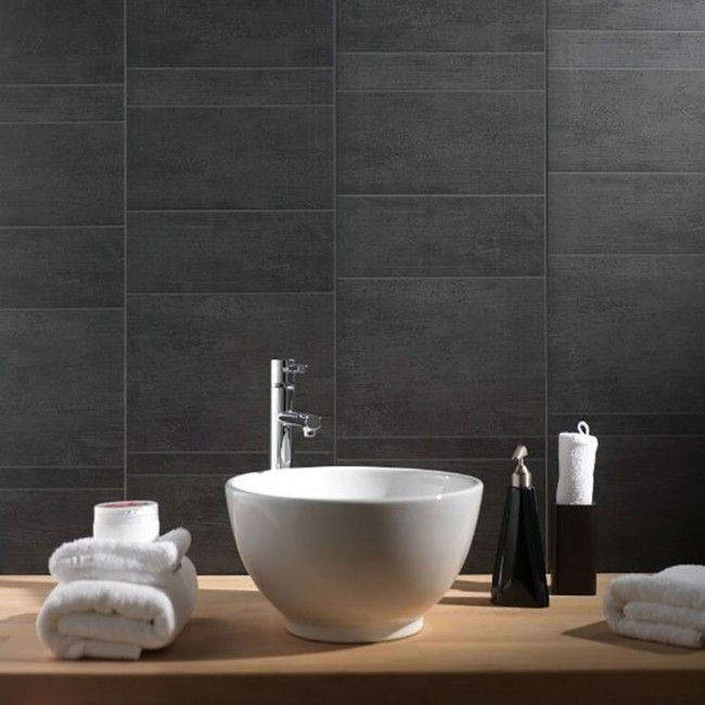 Anthracite Standard Tile Wall or Ceiling Cladding Panel (8mm x 375mm x 2.6m x 3   Marbrex)  Stunning stone tile effect wall or ceiling cladding panels, ideal for waterproofing ceilings in bathrooms and kitchens.