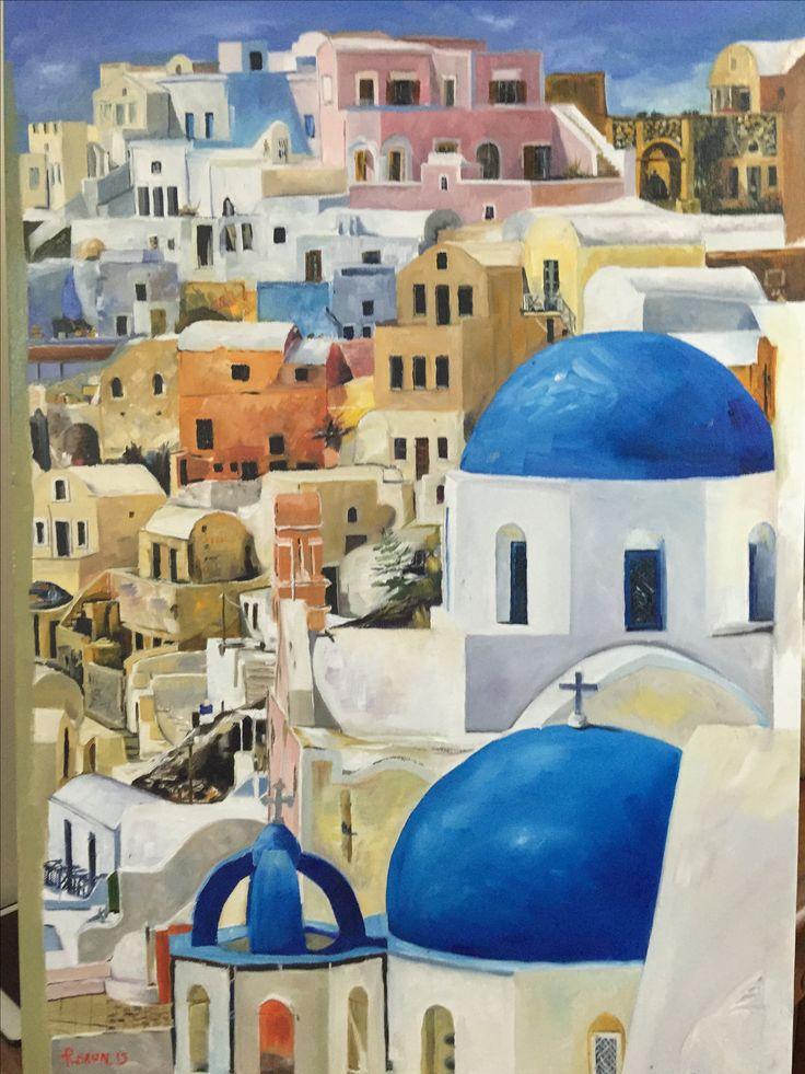 Santorini painted on canvas oil, 1000x 600 - Rick Brun painter