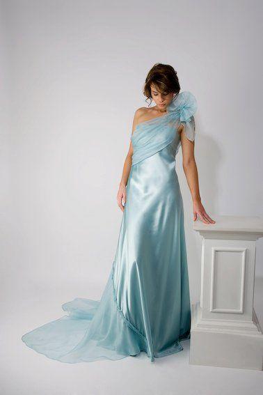 Pale blue one shoulder dress http://www.arcarocouture.com.au/