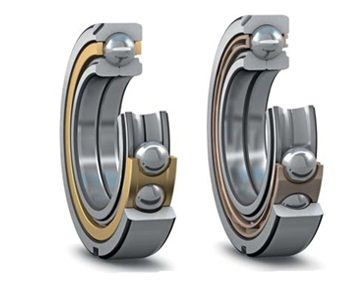 Four-point Contact Ball Bearings – Two in One: A four-point contact ball bearing can accommodate axial loads in both directions, in combination with radial loads up to a certain level, and provides a very tight axial shaft position tolerance. Also it saves space, because it can be seen as the combination of two single row angular contact ball bearings into one. Therefore, it is an excellent choice in applications such as industrial gearboxes, locomotive drives and compressors.