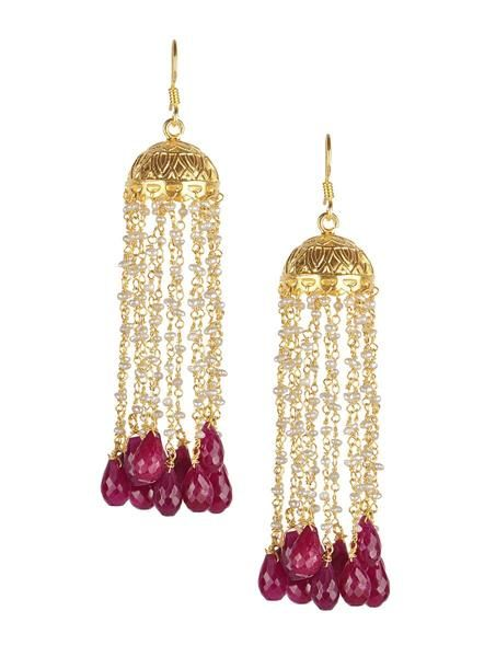 Pearl Ruby Earring - Buy Online Designer Jhumka Collection at SilverCentrre.com - Product Code: SCW 91