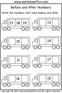 Before and After Numbers – 3 Worksheets