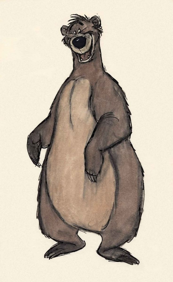 Disney concept drawing of Baloo the Bear
