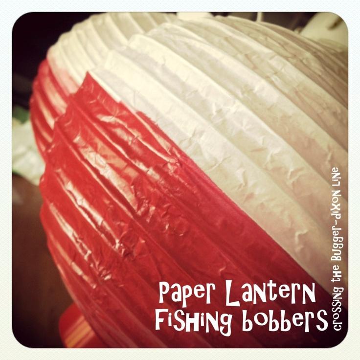 tutorial: batter-operated paper lanterns {$1 at Dollar Tree} + spray paint = fishing bobbers