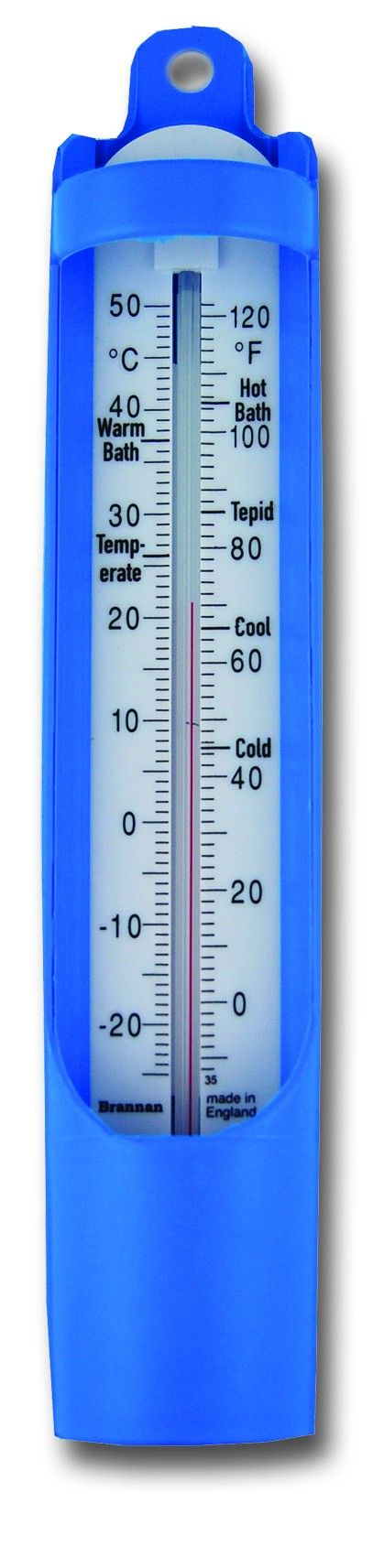 Scoop Bath Thermometer - 230mm - 230mm blue scoop bath thermometer with black temperature scale and recommended zones. Take a sample of bath water to measure the temperature prior to bathing with our scoop bath thermometers.