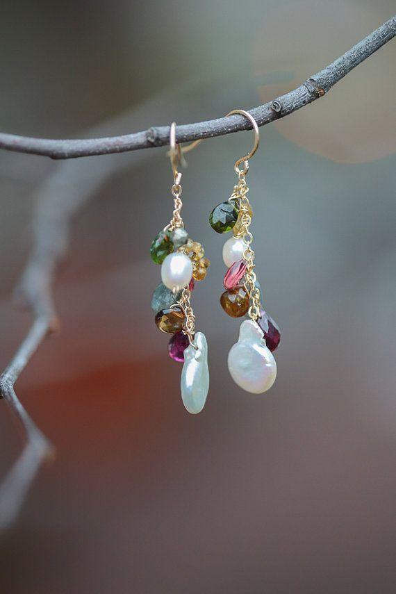 Mixed Gemstone Earrings, Multi-Stone Jewelry, Gold Pearl Garnet Tourmaline Sapphire Earrings, Statement Jewelry