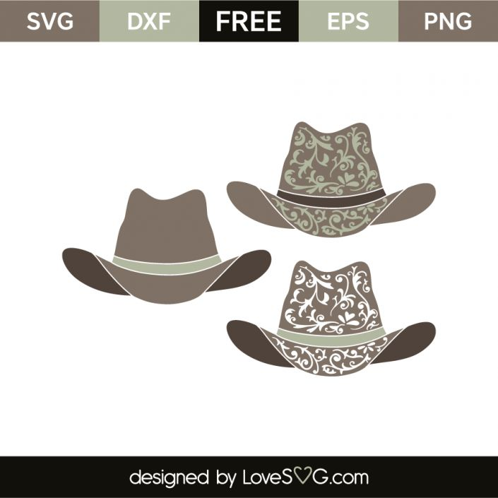 *** FREE SVG CUT FILE for Cricut, Silhouette and more *** Cowboy hats