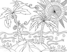 nature coloring pages, beach coloring pages, summer coloring page