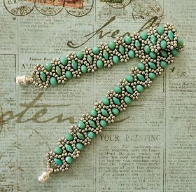Linda's Crafty Inspirations: Bracelet of the Day: Duo Bobble Band - Aqua & Silver