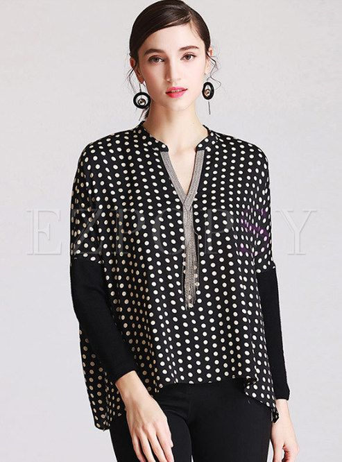 Shop for high quality Black Dot Print Batwing Sleeve Blouse online at cheap prices and discover fashion at Ezpopsy.com