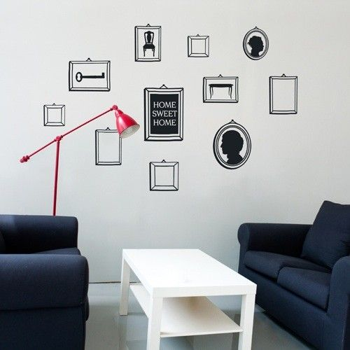 frames vinyl wall stickers - 10 beautiful frames in different sizes and shapes! You can apply the vinyl wall sticker frames in the order you wish in a free composition.