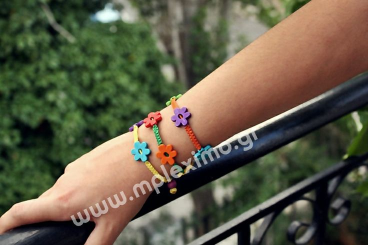 macrame bracelets with polymer clay flowers,  from mpleximo.gr