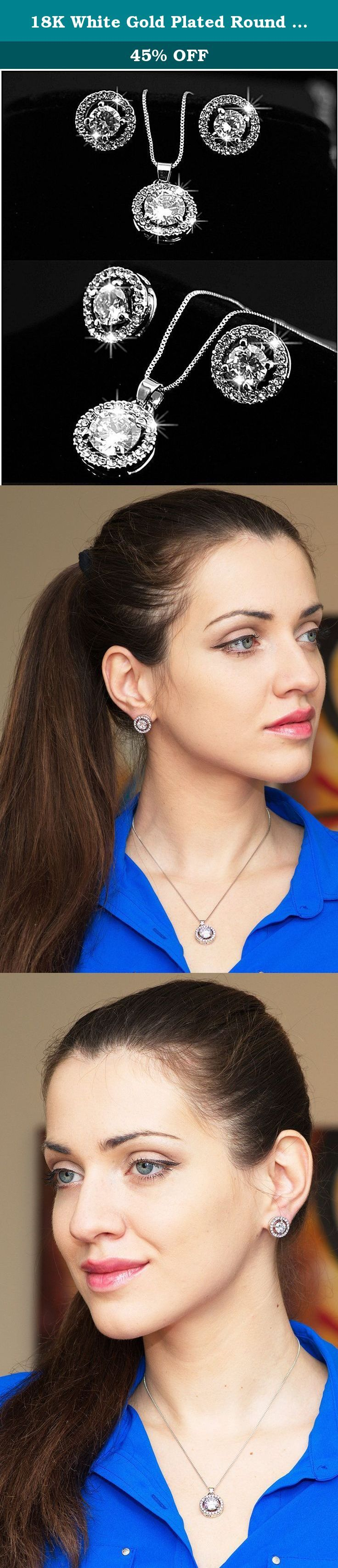 "18K White Gold Plated Round Necklace Stud Earrings Jewelry Set for women and teen girls. ""Why would I want to buy this product?"" you might ask There are a few simple answers to that: • If you like the design and the concept you'll love the product itself as it is very well made of high quality materials • It is affordable and looks and at the same time feels premium and luxurious • It is made of materials that wouldn't stop you from wearing it every day without worrying about allergies •…"