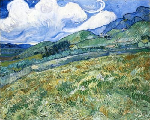 Wheatfield with Mountains in the Background  1889.  Vincent van Gogh