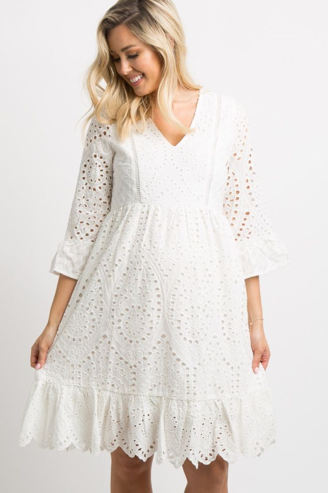 dc9633099be63 Ivory Crochet Overlay Maternity Dress in 2019 | Maternity clothes ...