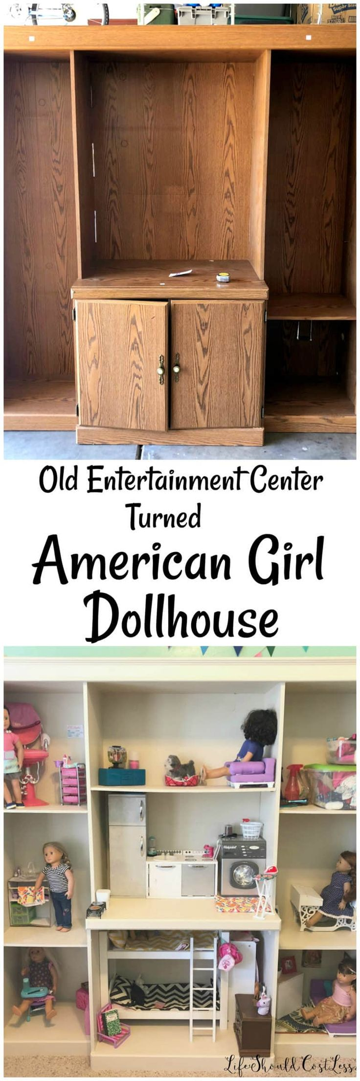 How To Turn An Old Entertainment Center Into An American Girl (18 inch) Dollhouse – Life Should Cost Less