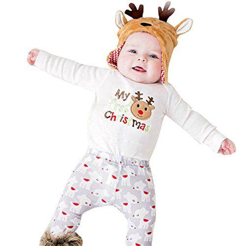 Yogogo Weihnachten Neugeborene S�ugling Kinder Baby Spielanzug Overall Bodysuit Kleidung Outfit (90)