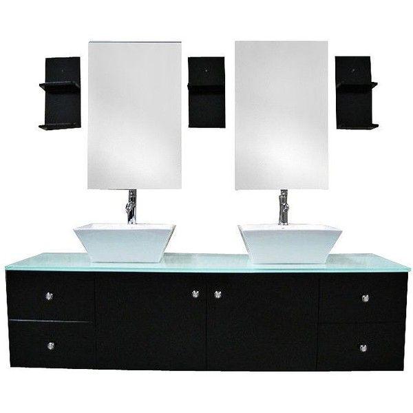 Portland Espresso 61 Quot Wide Double Sink Floating Vanity Set