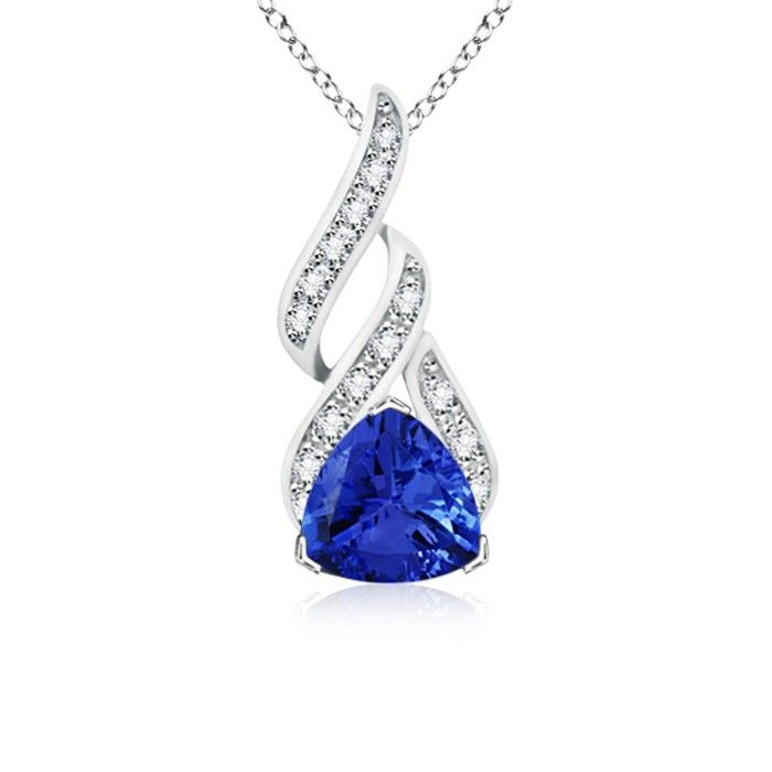 Angara Platinum Diamond Halo Tanzanite Teardrop Pendant sSamat