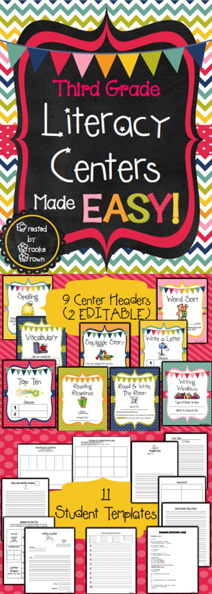 *NEW DESIGN!* Third Grade Literacy Centers Made EASY!