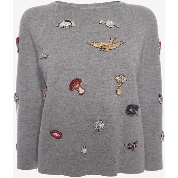 Alexander McQueen Crew Neck Jumper (4 215 BGN) ❤ liked on Polyvore featuring tops, sweaters, blusas, grey marl, collar top, grey crewneck sweater, crew neck jumper, crew neck sweaters and grey jumper
